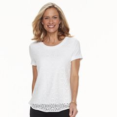 Women's Croft & Barrow® Lace-Front Tee