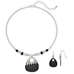 Black & White Guitar Pick Beaded Necklace & Drop Earring Set