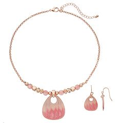 Mother-of-Pearl Guitar Pick Beaded Necklace & Drop Earring Set