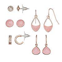 Pink Nickel Free Hoop, Stud & Drop Earring Set