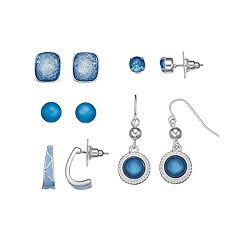 Blue Nickel Free Semi Hoop, Stud & Drop Earring Set