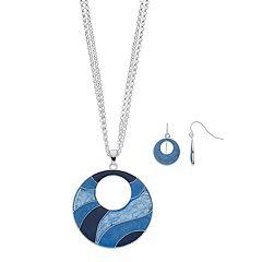 Open Circle Pendant & Drop Earring Set