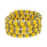 Yellow Bead Coil Bracelet
