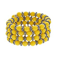 Yellow Bead Coil Bracelet