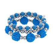 Blue Bead Stretch Bracelet Set