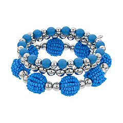 Blue Bead Stretch Bracelet Set