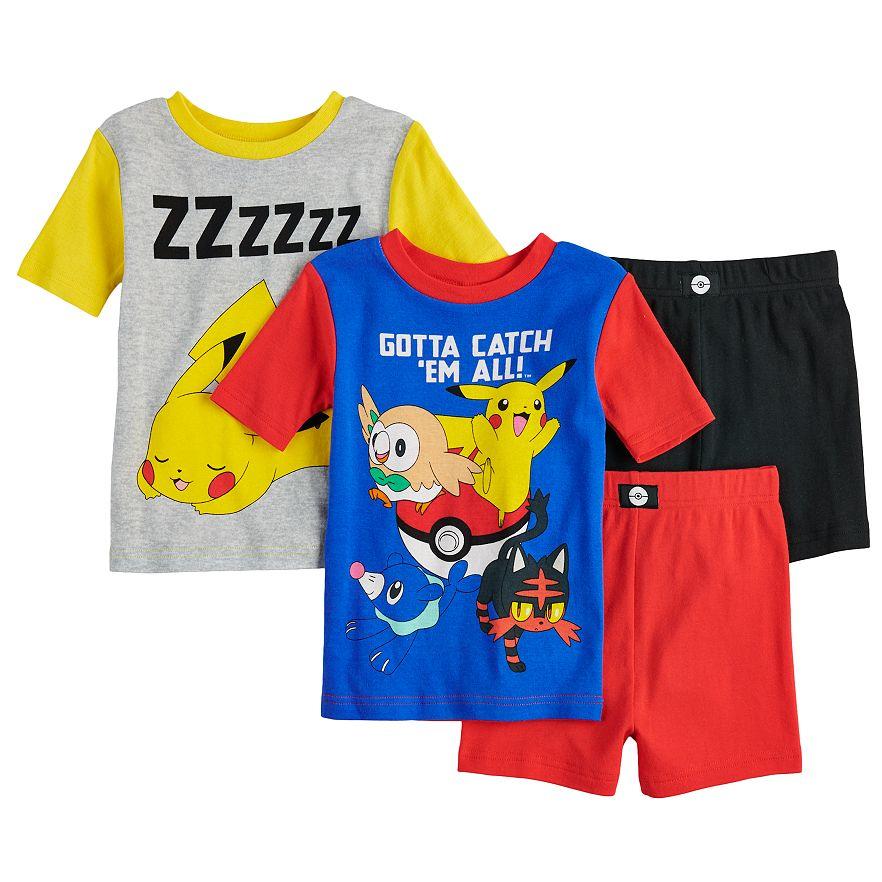 Boys Pyjamas Pokemon Pjs Catch /'em All Pikachu Ash Chespin Black 4 to 10 Years
