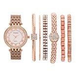 Women's Crystal Accent Watch & Bracelet Set