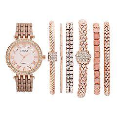 Women's Crystal Accent Watch & Bracelet Set