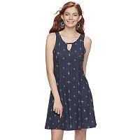 Juniors' Mudd® Print Keyhole Fit & Flare Dress