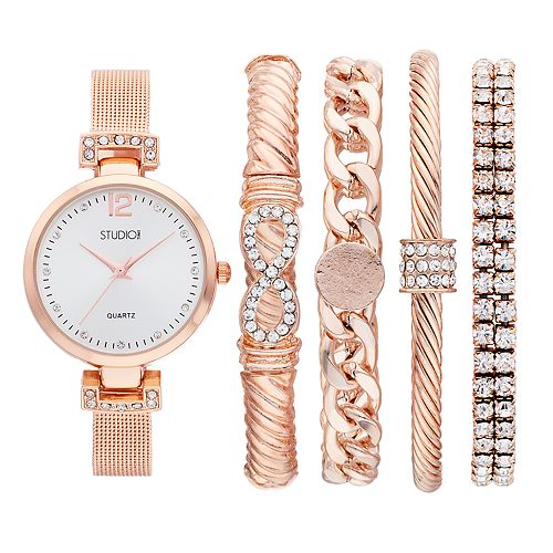 Women's Crystal Accent Mesh Band Watch & Bracelet Set