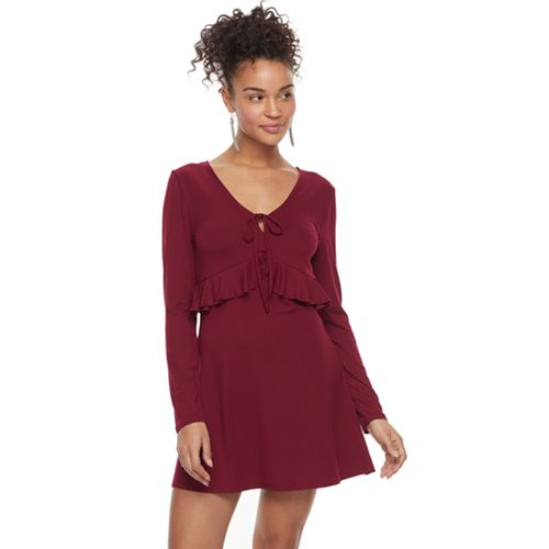 Juniors' About A Girl Tie-Front Ruffled Dress