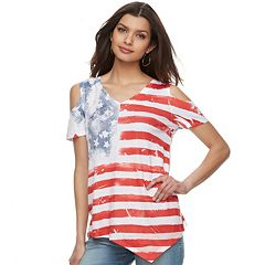Women's World Unity Cold-Shoulder Flag Tee