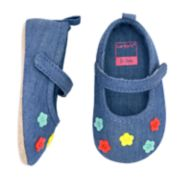 Baby Girl Carter's Flower Chambray Mary Jane Crib Shoes