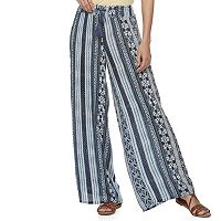 Juniors' Mudd® Print Wide-Leg Soft Pants