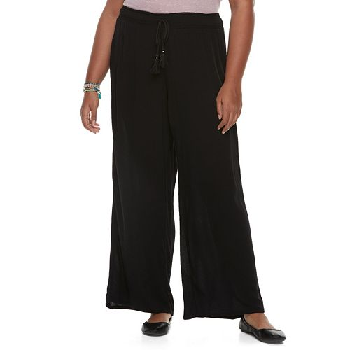 Juniors' Plus Size Mudd® Wide-Leg Soft Pants