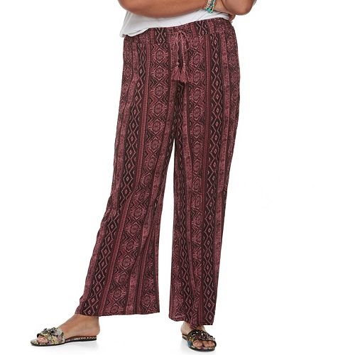 Juniors' Plus Size Mudd® Wide-Leg Soft Pants
