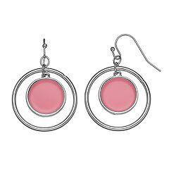 Pink Disc & Hoop Drop Earrings