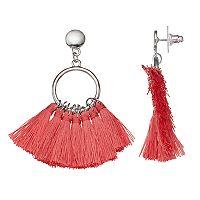 Pink Tassel Hoop Drop Earrings