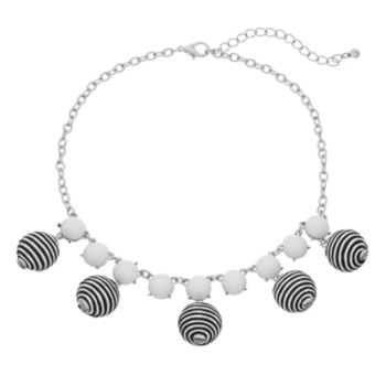 Striped Bead & Cabochon Statement Necklace