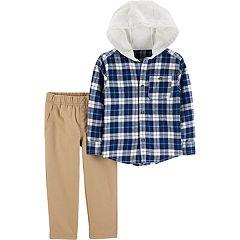 Baby Boy Carter's Plaid Hooded Button Down Shirt & Pants Set