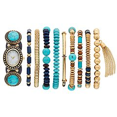 Women's Simulated Turquoise Cabochon Stretch Watch & Bracelet Set