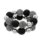 Black & White Bead Stretch Bracelet Set