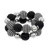 Black & White Bead Stretch Bracelet Set