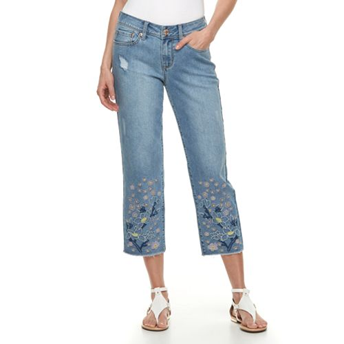 Women's Seven7 Embroidered Straight-Leg Ankle Jeans