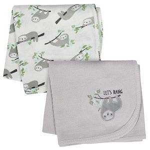 Just Born 2-pack Thermal Sloth Print Blankets