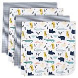 Just Born 4-pack Flannel Whale Swaddle Blankets