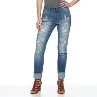 Women's Seven7 Embroidered Slim Straight-Leg Jeans