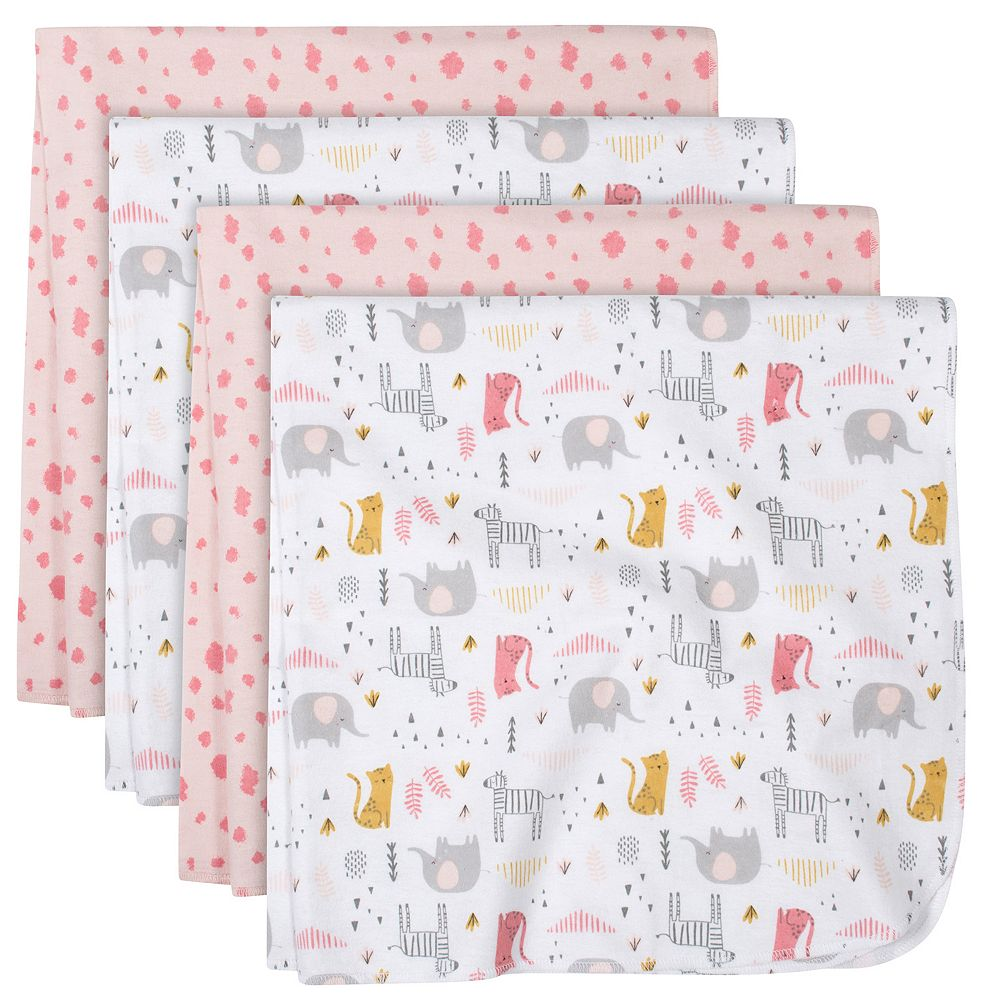 Just Born® 4-pack Flannel Heart Swaddle Blankets