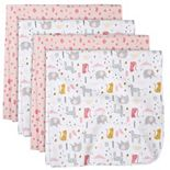 Just Born 4-pack Flannel Heart Swaddle Blankets