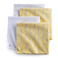 Just Born 4-pack Giraffe Flannel Swaddle Blankets