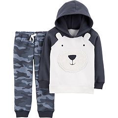 Baby Boy Carter's Polar Bear Hoodie & Camo Pants Set