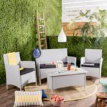 Safavieh Indoor / Outdoor Wicker Chair, Loveseat & Coffee Table 4 pc Set