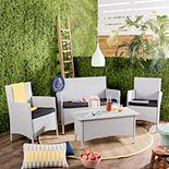 Safavieh Indoor / Outdoor Wicker Chair, Loveseat & Coffee Table 4-piece Set
