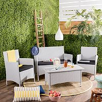 Safavieh Indoor / Outdoor Wicker Chair, Loveseat & Coffee Table 4-piece Set