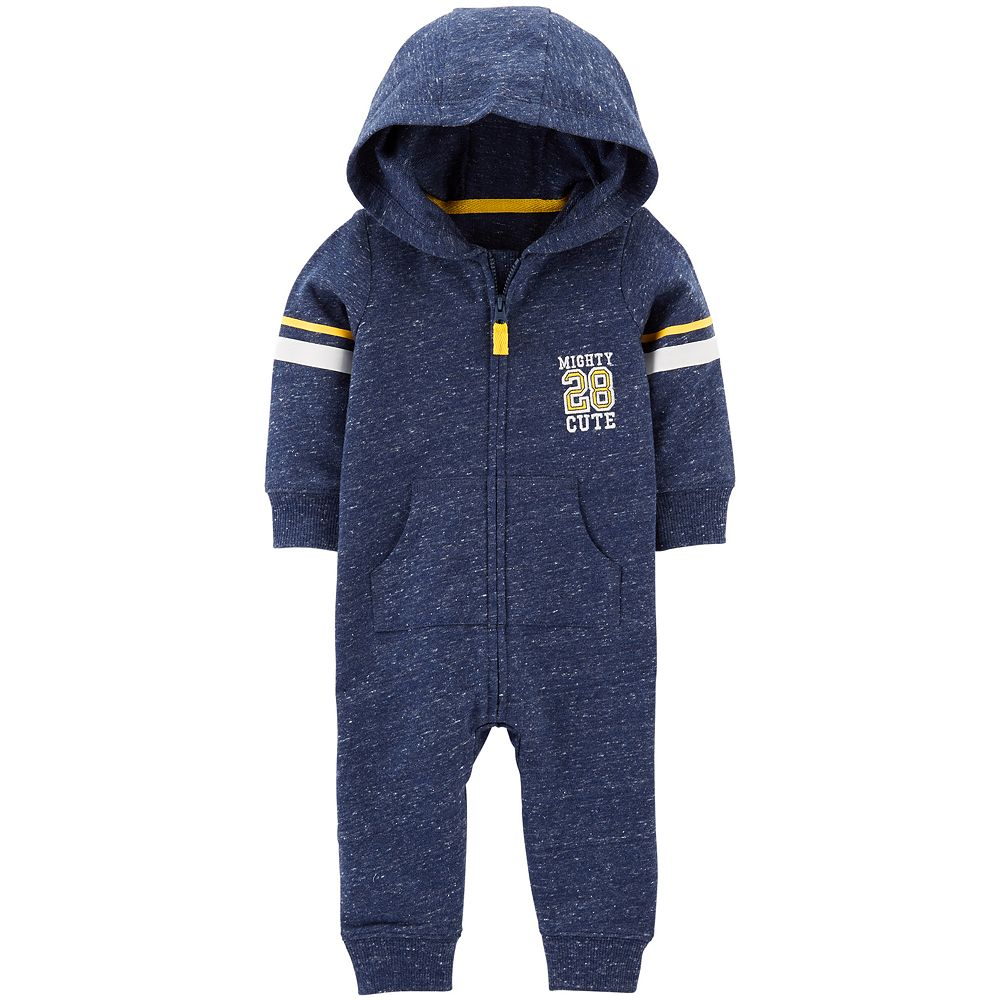 "Baby Boy Carter's ""Mighty 28 Cute"" Marled Hooded Coverall"
