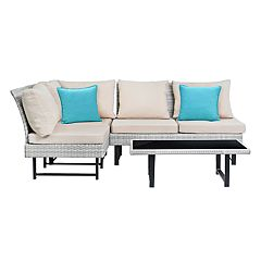 Safavieh Indoor / Outdoor Wicker Sectional Sofa, Coffee Table & Throw Pillow 6-piece Set