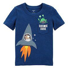Toddler Boy Carter's 'Cosmic Dude' Rocket Ship Applique Pocket Tee