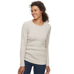 Petite Croft & Barrow® Crewneck Cable-Knit Sweater