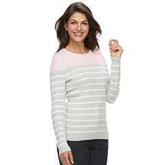 Petite Croft & Barrow® Crewneck Cable-Knit Sweater