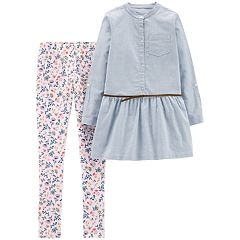 Girls 4-8 Carter's Belted Top & Floral Leggings