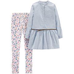 Girls 4-8 Carter's Belted Top & Floral Leggings