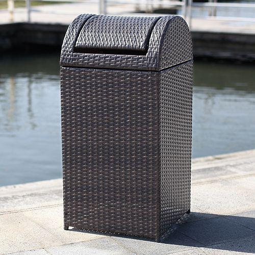 Outdoor 18 Gallon Wicker Trash Bin