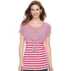 Maternity a:glow Tie Accent Popover Nursing Tee