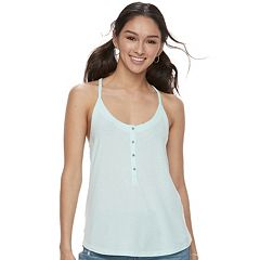 Juniors' SO® Henley Racerback Tank