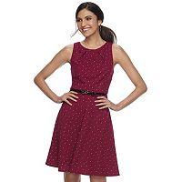 Women's ELLE™ Print Pleated Fit & Flare Dress